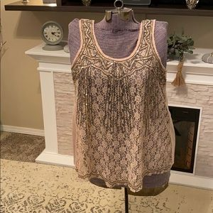 Vanity 2 2XL XXL Pale Pink Sequin Lace Tank Cami